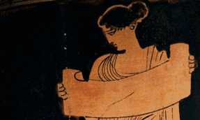 muse reading a very long word in ancient Greek